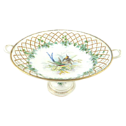 Antique French Porcelain Compote Featuring Birds Gilt Work