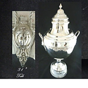 "SALE Antique Silver Trophy Cup or Urn on Marble Plinth 31"" Tall"