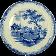 Antique Child's Tea Plates in the Humphrey's Clock Pattern by Ridgway Blue & White Transferwar