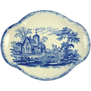 Antique Child's Meat Dish Serving Tray in the Humphrey's Clock Pattern by Ridgway Blue & White