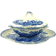 Child's Antique Covered Tureen Vegetable Dish in the Humphrey's Clock pattern by Ridgway Blue