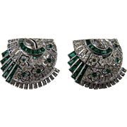 SALE Pair 1930's Dress Clips with Invisibly Set Imitation Emeralds