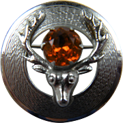 SALE Signed MIZPAH Deer Brooch with Imitation Golden Topaz