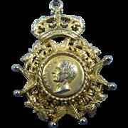 Signed NETTIE ROSENSTEIN Necklace Pendant Heraldic Design