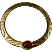 Egyptian Inspired Very Wide Gold Choker Necklace by MONET