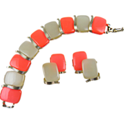 LISNER Mid-20th Century Thermoplastic Bracelet & Earrings