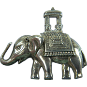 Signed LANG Sterling Elephant Brooch with Howdah