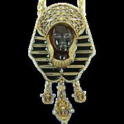 Egyptian Revival Pharaoh Pendant with Enameling