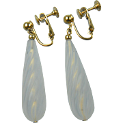 Signed NAPIER Crystal Dangle Earrings