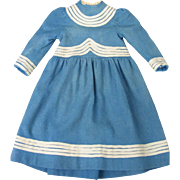 Wonderful French Blue Woolen Dress for a Large Bisque Doll Sailor Style