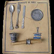 Old Doll Silverware on Original Card Marked Nouveaute' De Paris