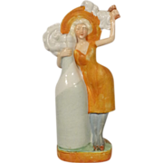 Schafer Vater German Porcelain Figural Bottle Flapper Girl With Champagne Bottle