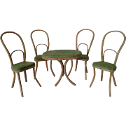 SALE Miniature Antique Thonet Bentwood Table and Chairs for Mignonettes
