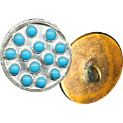 Button--Unusual 19th C. Silver-topped Brass Embellished Overall with Turquoise Enamel ...
