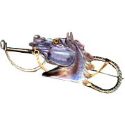 Brooch--Large Late 19th C. Hand-carved Pearl Glass-eye Horse Head & Riding Crop