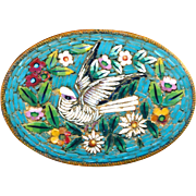 Brooch--Fine Late 19th C. Oval Micro Mosaic Glass White Dove on Turquoise with Flowers ...