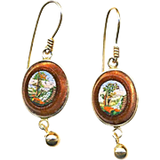 Earrings--Very Fine Mid-19th C. Micromosaic Water Garden Scenes in Aventurine Glass and 14 ...