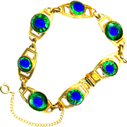 Bracelet--Hard-to-find Vintage 1960s Freirich Peacock Eye Art Glass in Gold-plated Brass