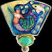 Brooch or Pendant--Large Artisan Fine Cloisonne Enamel Under Sea Mermaid with Opal & Purple ..
