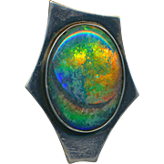 Brooch or Pendant--Artisan Black Patinated Sterling Silver and Huge Black Opal with Crescent
