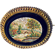 Brooch--Fine Mid-19th C. Micro Mosaic Micromosaic Impressionist Landscape of Rustic Bridge in