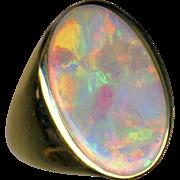 Ring--Thick Oval Solid Premium Australia Dark Crystal Opal in Plain Unisex 14 Karat Gold