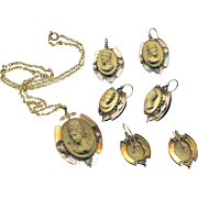 Pendant and Earrings--Mid-19th C. Tan High Relief Lava Cameos of Theodora in 14 ...