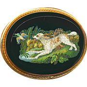 Brooch--Micro Mosaic Micromosaic Water Spaniel & Game in 14 Karat Gold--Museum Quality Very ..