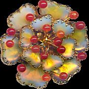 Brooch--Large Vintage Signed Hobe Psychedelic  Art Glass Mayorka Petals