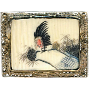 Brooch--Early 20th C. Chinese Tinted Scrimshaw Rooster in Tree in Silver-plated Brass
