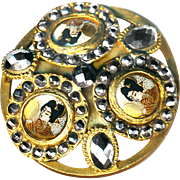 Button--3 Satsuma Geishas--Unusual Large Gilded Brass and Very Bright Cut Steels