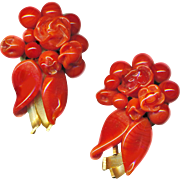 Earrings--Very Fine French Pate de Verre Glass Faux Coral Circa 1950
