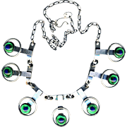 Necklace--Art Deco Style Hard White Metal Links and Fine Peacock Eye Glass Jewels--18 ...