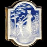 Brooch/Pendant--Vintage Limoges Pate-sur-pate Porcelain in Gold-plated Metal--Art Nouveau