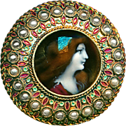 Button--Rare Large 19th C. Pre-Raphaelite Limoges Enamel Lady in Faux Pearls & Brass