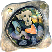 Brooch--Graveyard of Broken Hearts--One-of-a-kind Whimsical Modern Cloisonne in Silver by ...