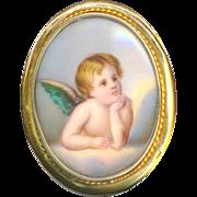 Brooch--Large Late 19th C. 14 Karat Gold Hand Painted Porcelain Cherub or Angel