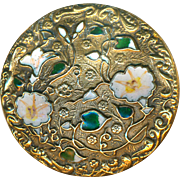 Button--Late 19th C. Large Open Champleve Enamel Morning Glories an Brass