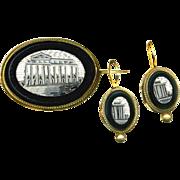 Brooch & Earrings--Unusual Mid-19th C. Monochromatic Micromosaic Pantheon Tests 14 Karat No ..