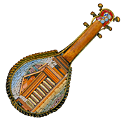 Brooch--Fine Late 19th C. Micro Mosaic Micromosaic Roman Pantheon on Mandolin with Wood in ...