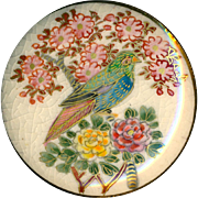 Button - Extra Large Modern Vintage Japanese Satsuma Pottery Colorful Bird in Plumeria