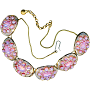 Necklace--Andree Bazot Mid-20th C. French Limoges Pink Opalescent and Silvery Pale Blue ...