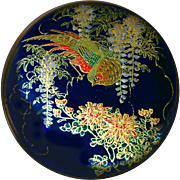 Button--Very Large Late 19th C. Japanese Satsuma Pottery Red Bird in Blue Wisteria on ...