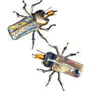 Brooch--Large Vintage Brass Artisan Beetle Bug with Glamorous Icy Blue-gold Foil Glass Wings