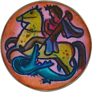 Button--Rare Karl Drerup Modern 20th C. American Enamelist St. George Slaying the Dragon