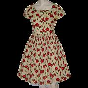 Vintage 50s Dress Challis Rose Print Full Skirt