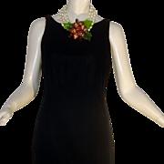 Vintage 80s Anne Klein Black Velvet Dress Donna Karan Sheath