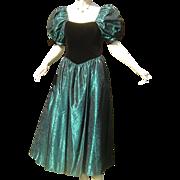 Vintage Laura Ashley Corset Party Dress Velvet Taffeta