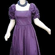 Vintage Laura Ashley Princess Party Dress Purple Damask