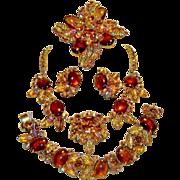 SALE Vintage Juliana Topaz Cabochon Glass Leaves Rhinestones Necklace Bracelet Brooch Earrings